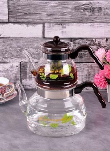 Baysal Bayev Desenli Isıya Dayanıklı Cam Çaydanlık - 400453 Renkli